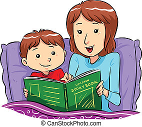 Bed Time Story - Mother reading bed time story for her son...