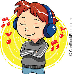 Listening To Music - A boy listening to music with...