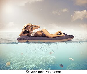 Relax in tropical sea