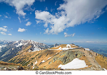 Beautiful mountain panorama of High Tatra Mountains in spring season