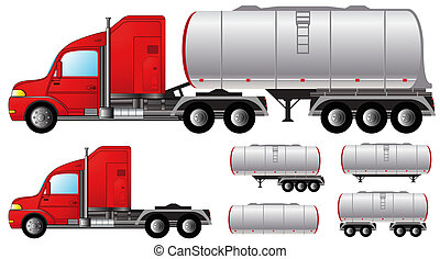 set tank truck and fuel tanks - set isolated objects with...