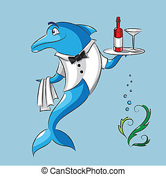 The dolphin is the waiter - The amusing dolphin is the...