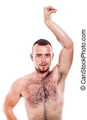 Shirtless hairy man posing - Young shirtless hairy man...