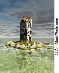 Island Tower - Mediaeval or fantasy tower on a small rocky...