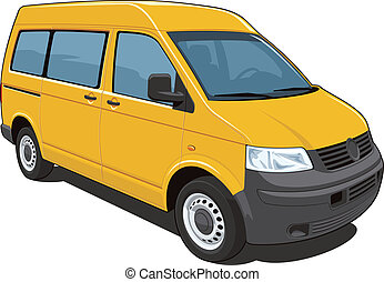 Yellow van - Vector isolated van passenger and cargo on...