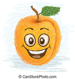 happy apricot - happy yellow apricot fruit cartoon character...