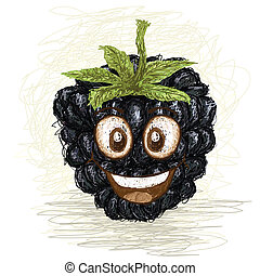happy blackberry fruit cartoon character smiling