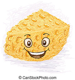 happy cheese cartoon character smiling.