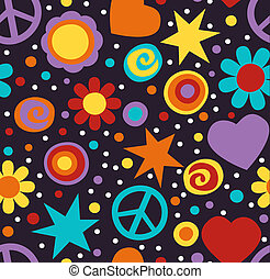 Flower power hippie seamless patter - Colorful hippie...