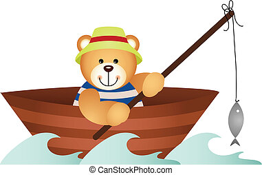 Teddy bear fishing in a boat - Scalable vectorial image...