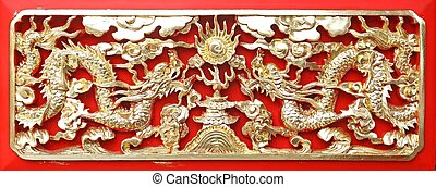 Golden dragonChinese: Long wood carving in Red background