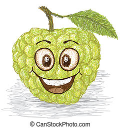 happy custard apple - happy green custard apple, sweetsop...