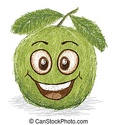 happy guava fruit cartoon character smiling.