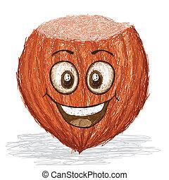 happy hazelnut - happy hazel nut cartoon character smiling....