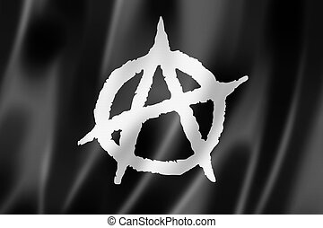 Anarchy flag, three dimensional render, textured