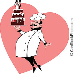Wedding cake baker - Baker in chef's uniform carrying a...