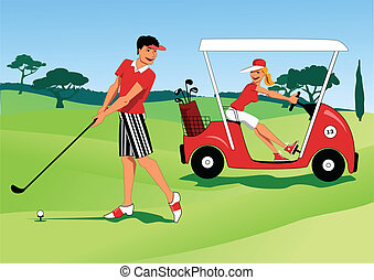 Young couple playing golf - Young man hitting a ball with a...