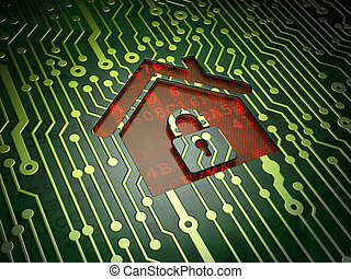 Privacy concept: Home on circuit board background - Privacy...