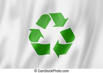 Símbolo, reciclagem, bandeira
