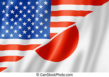 USA and Japan flag - Mixed USA and Japan flag, three...