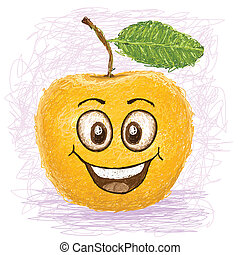 happy yellow apple cartoon character smiling.