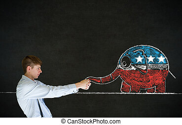 Man pulling republican democracy elephant on blackboard...