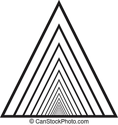 Abstract triangle tunnel descending perspective