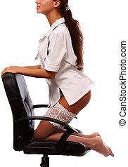 joven, Sexy, mujer, vestido, Enfermera