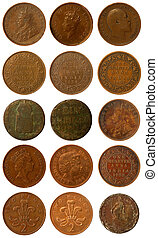 Old coins - some old and newer copper coins of India from...