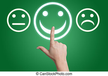 feedback button - woman hand pointing to a positive feedback...