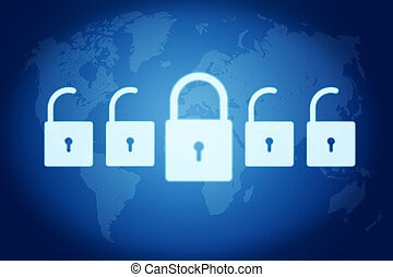 security concept - Locks on blue background with world map