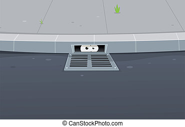 Eyes Spying Inside Pavement Gutter Hole - Illustration of a...