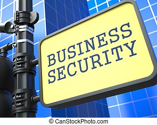 Security Concept. Waymark on Blue Background. - Security...