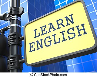 Learning Language - English Concept. Waymark on Blue...