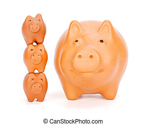 Small piggy banks superimposed near big one - Financial...