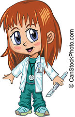 Anime Style Red Haired Doctor Girl - A red-haired girl...