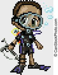 Pixel Art Anime Scuba Diver Boy