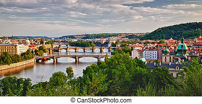 Panoramic View of Prague Bridges