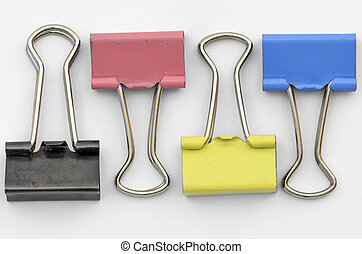 Office Clamps - Colourful Office Paper Clamps presented on...