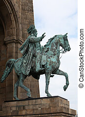 Statue of Kaiser Wilhelm on horseback - Low angle view of a...