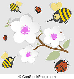 spring poster - Bees and ladybugs gathered around a...