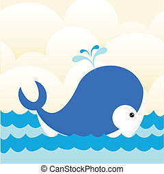 Whale in sea background.