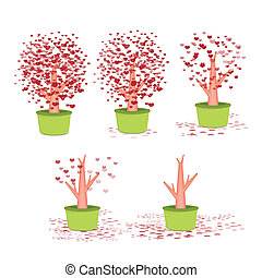 Valentine tree, love, leaf from hearts on green pot