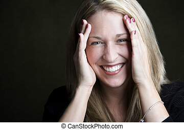 Pretty Blonde Woman Laughing