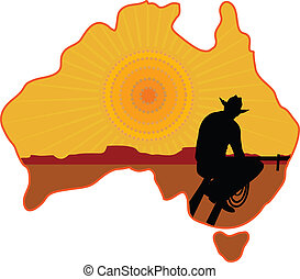 Australian Cowboy - A stylized map of Australia with a...