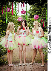 happy young and attractive girlfriends. Bridesmaids - happy...