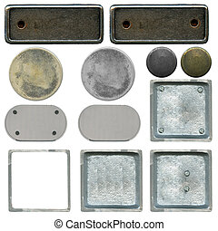 the set of different types of metal plates, isolated on...