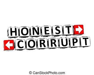 3D Honest Corrupt Button Click Here Block Text