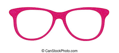 Photo of pink glasses isolated on white with clipping parths...