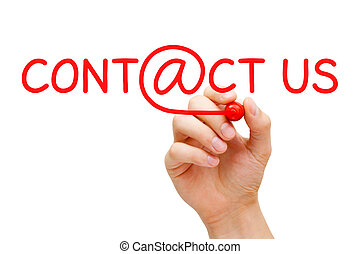 Contact Us - Hand writing Contact Us with red marker on...